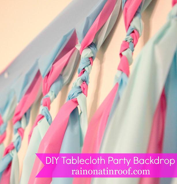 DIY Tablecloth Party Backdrop - braided closeup - Rain on a Tin Roof