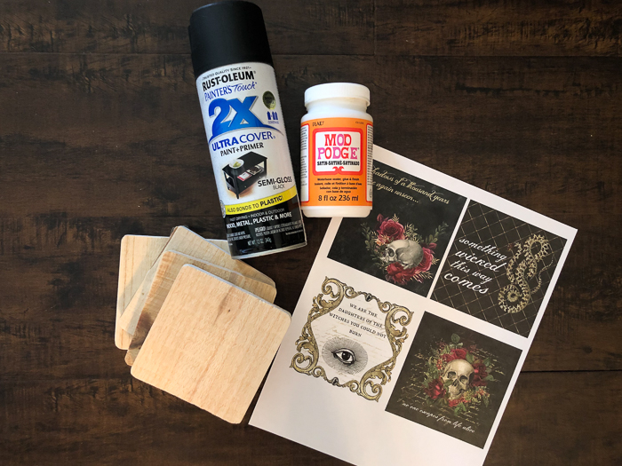 Materials for Making Halloween Coasters
