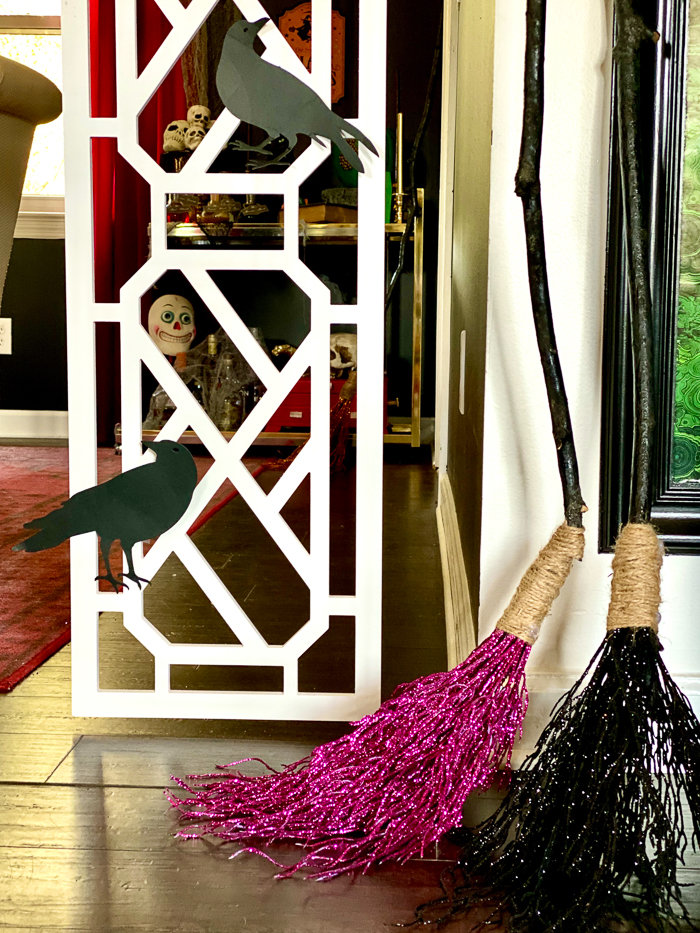 Using Witch's Brooms for Halloween Decorations