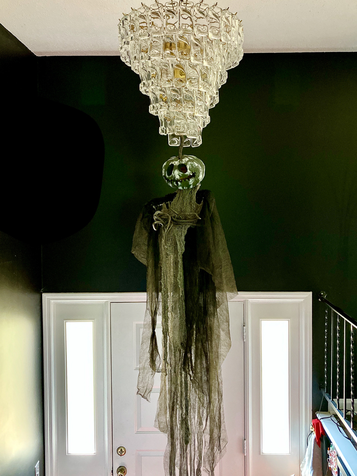 Hanging creepy things from the ceiling for Halloween