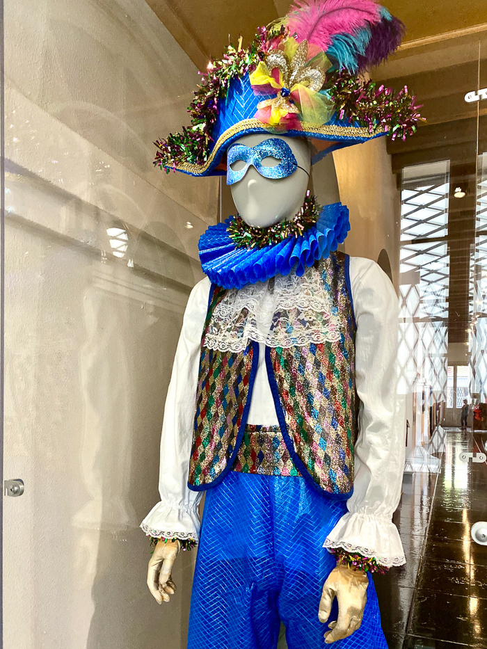 The Presbytere in New Orleans - Mardi Gras costume made from blue tarps.