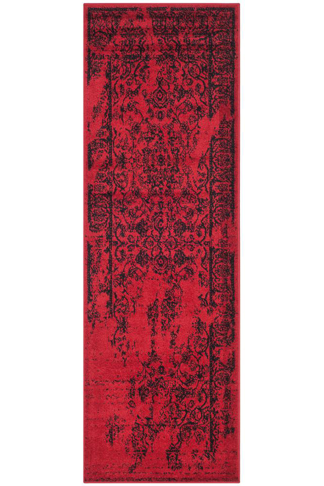 affordable hallway runner rugs - red distressed rug