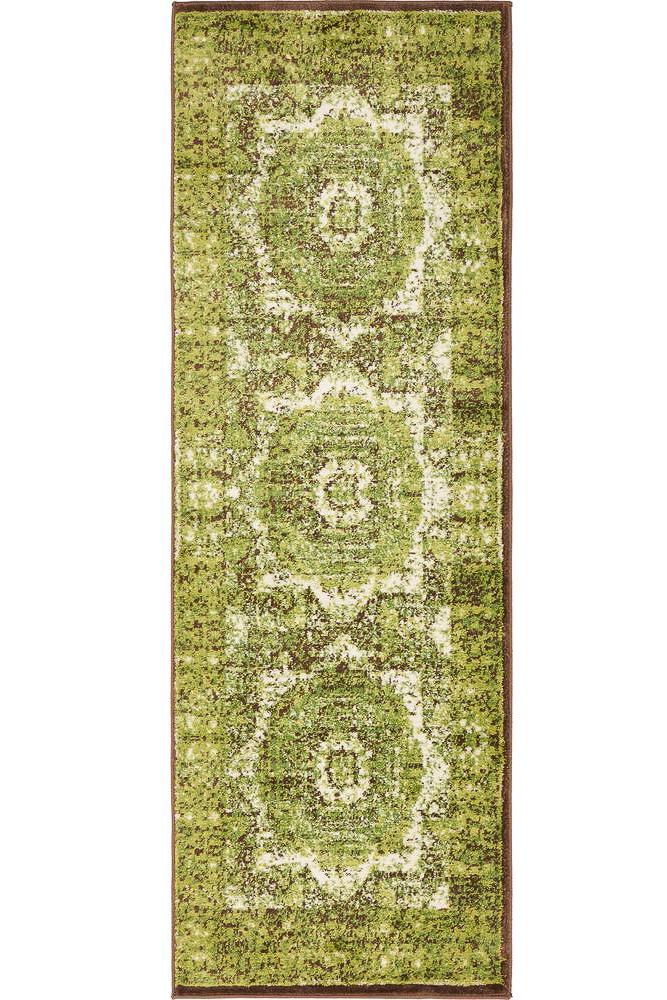 inexpensive rug runners - vintage style green rug