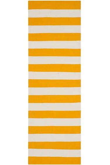 cheap hallway runners - yellow and white stripe rug