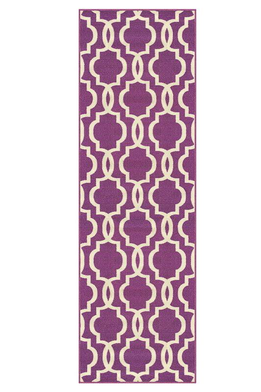 cheap rug runners for hallways - purple trellis rug