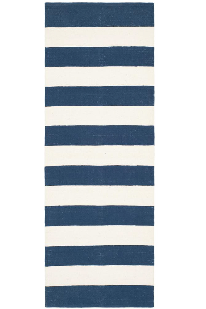 cheap runner rugs - blue and white stripe rug