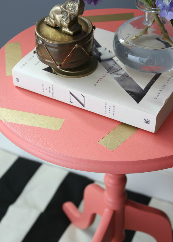 furniture painting ideas techniques- coral and gold confetti pattern on accent table