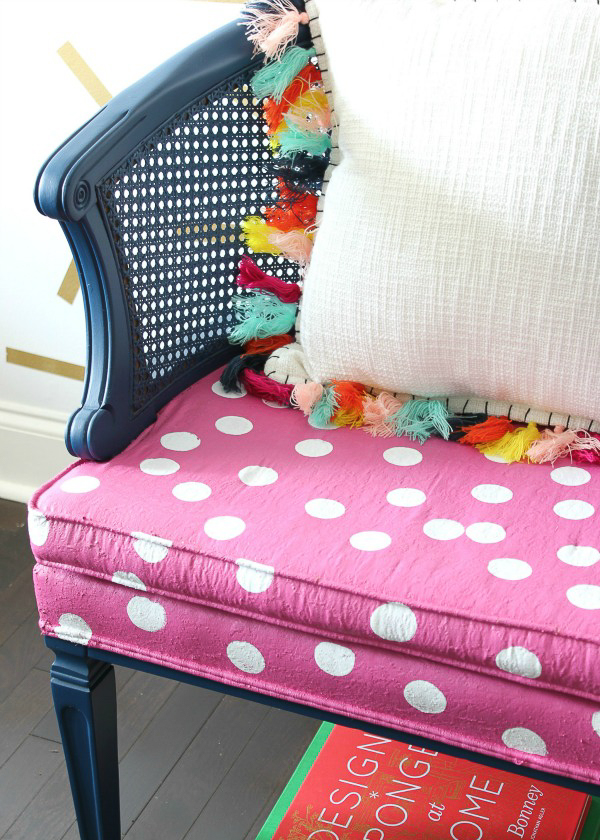 painted pink and navy upholstered chair technique