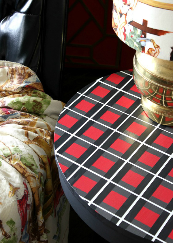 furniture painting techniques - plaid pattern on side table