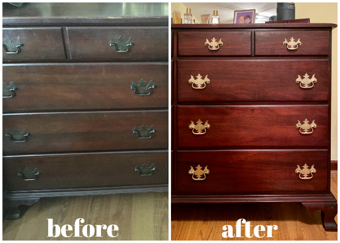 How to Restore Wood Furniture - before and after