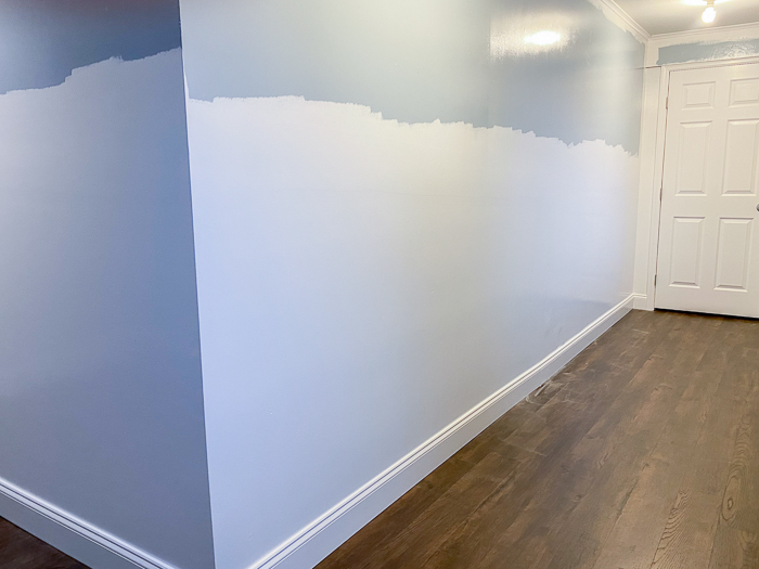 Lattice Accent Wall Tutorial - painting the wall first.