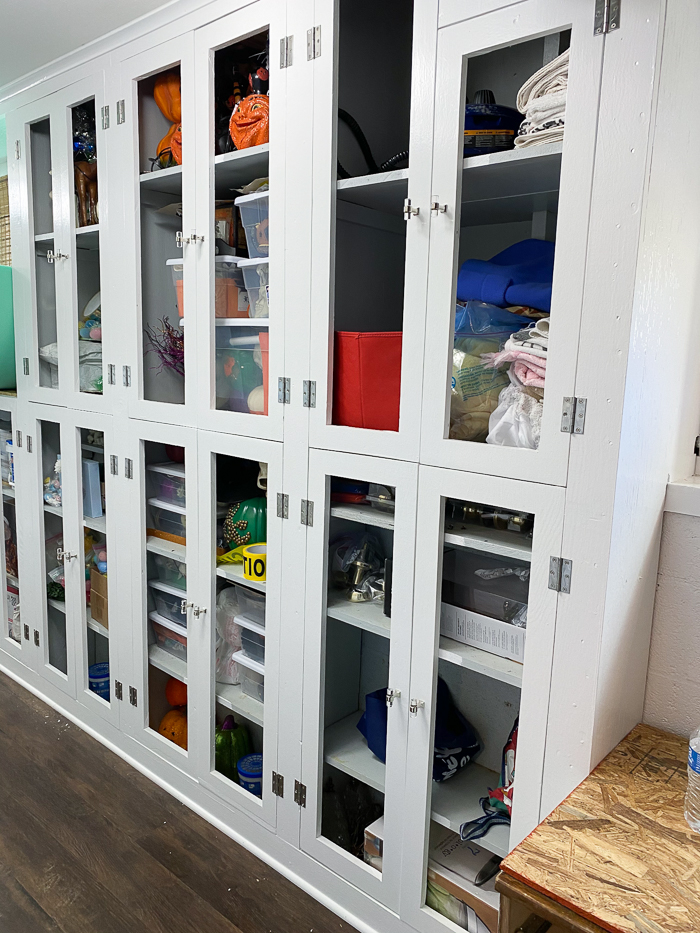 Mudroom Cabinet Ideas - cut outs made in doors.