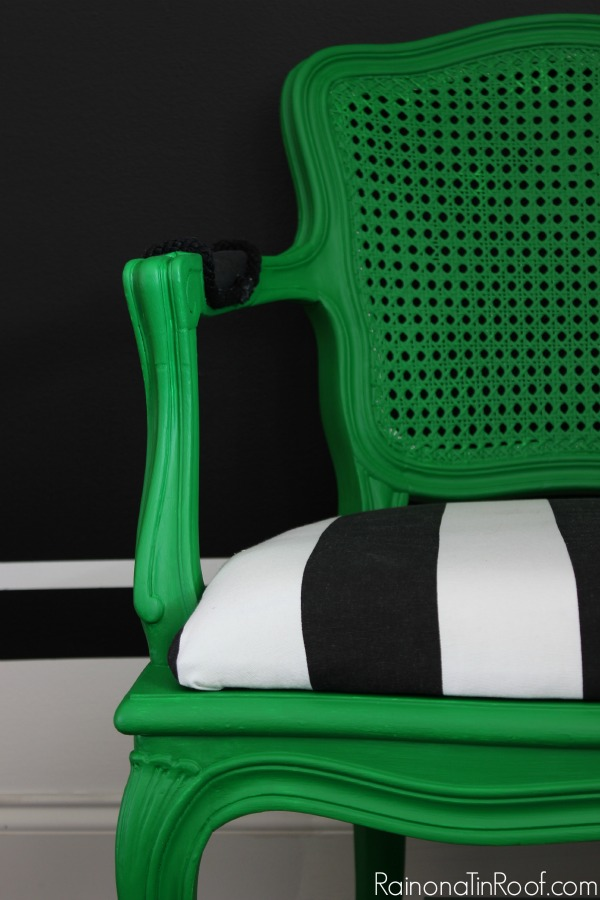 DIY projects you can do when you're stuck at home - green painted chair with black and white upholstery.